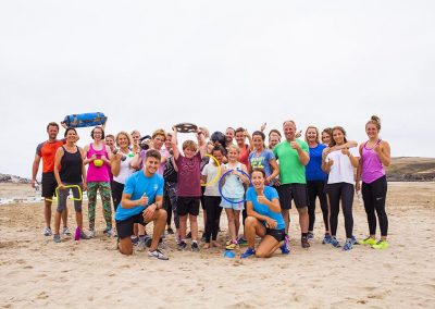 Beach fitness at Polzeath with Wavehunters Fitness