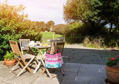 Bulls Barn outdoor seating area with view