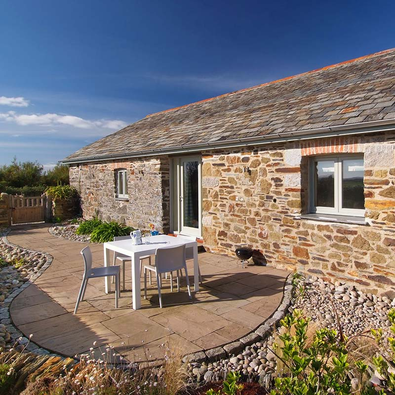 External image of the Calf's House at Mesmear. Polzeath self catering holiday barn on a farm. Sleeps 4.