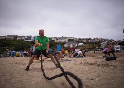 Fitness classes on Polzeath beach