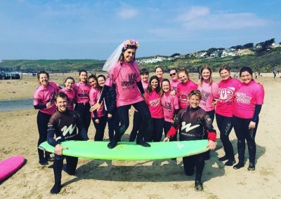 Hen party surfing at Polzeath with Wavehunters
