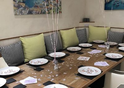 Hen party table set for meal