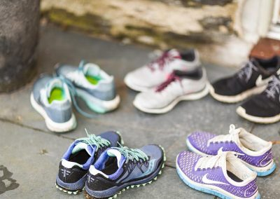 Trainers left outside after a run