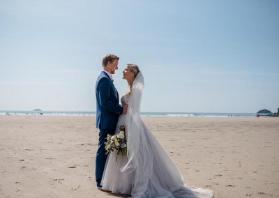 Wedding photgraph on Polzeath beach