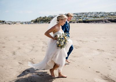 Wedding photo on Polzeath beach