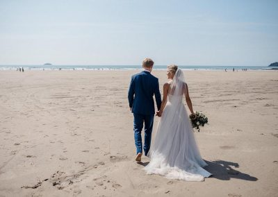 Wedding photograph at Polzeath beach